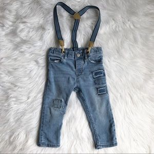 H&M Patched Jeans with Suspenders boy 9-12M A34
